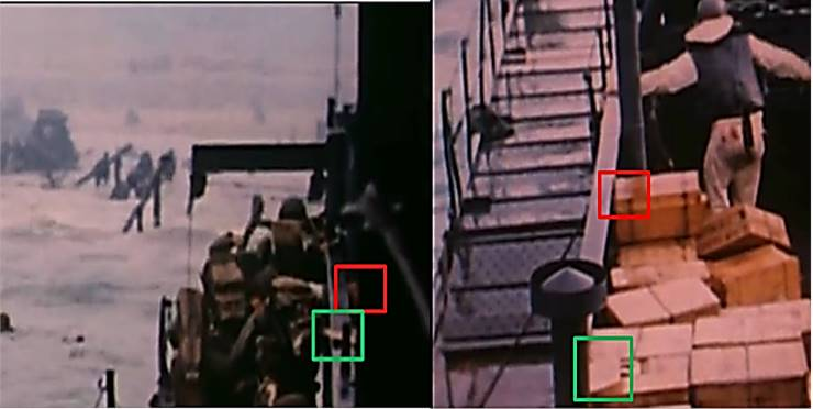 Fig. 7: Debarkation from LCI(L)-94, D-Day (l); view of rations stored on deck of LCI(L)-94 on D-Day (r). Both frames from USCG D-Day film by David Ruley.