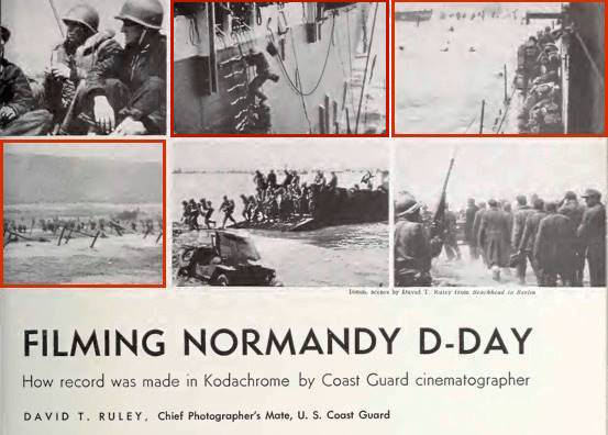 Fig. 8: Cinematographer David T. Ruley, illustrations for first-person account of D-Day experiences, Movie Makers magazine, 6/1/45