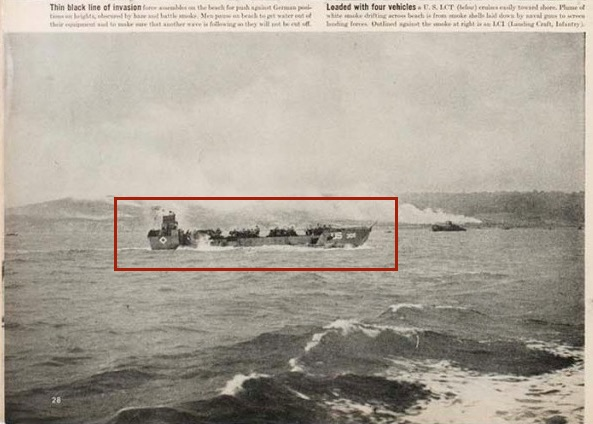 "Fig. 9: Life magazine, ""Beachheads of Normandy,"" 6/19/44, Robert Capa photo, p. 28 (detail)"