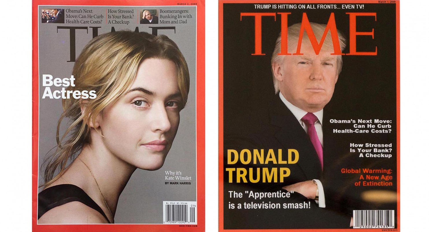 Real March 2, 2009 TIME cover, left; fake March 1, 2009 TIME cover, right