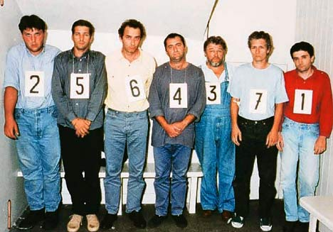 Paparazzi arrested after the crash (l-r): Romuald Rat, Serge Arnal, Jacques Langevin, Nikolai Arsov, Laslo Veres, and Christian Martinez, and motorcyclist Stephane Darmon. Mugshot courtesy French police.