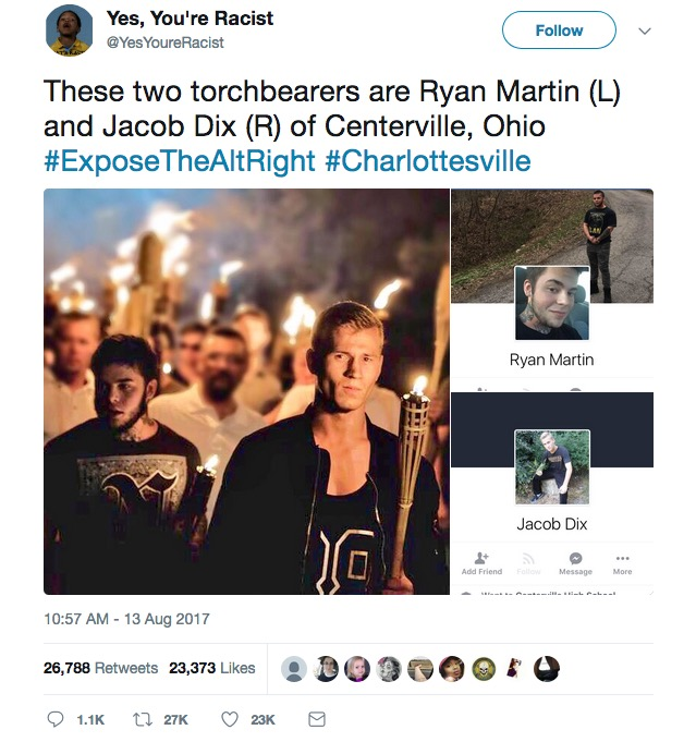 """Good Americans"" Ryan Martin (L) and Jacob Dix (R), Charlottesville, VA, August 11, 2017. Screenshot from @YesYoureRacist."