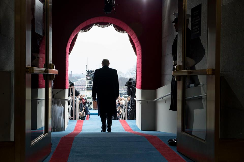President-elect Donald Trump walks to take his seat for the inaugural swearing-in ceremony at the U.S. Capitol in Washington, D.C., Friday, Jan. 20, 2017. Official White House Photo by Shealah Craighead.
