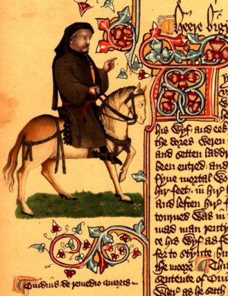 Geoffrey Chaucer as a pilgrim, from the Ellesmere manuscript (ca. 1400), Huntington Library, CA.