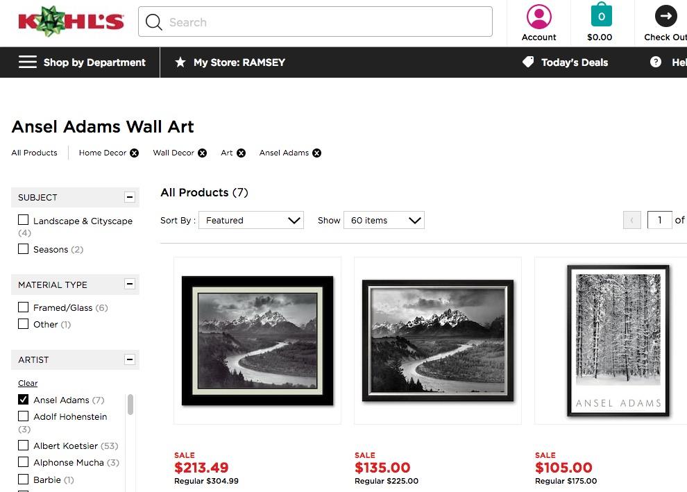 Ansel Adams Wall Art, Kohl's online, 11-22-17 (screenshot)