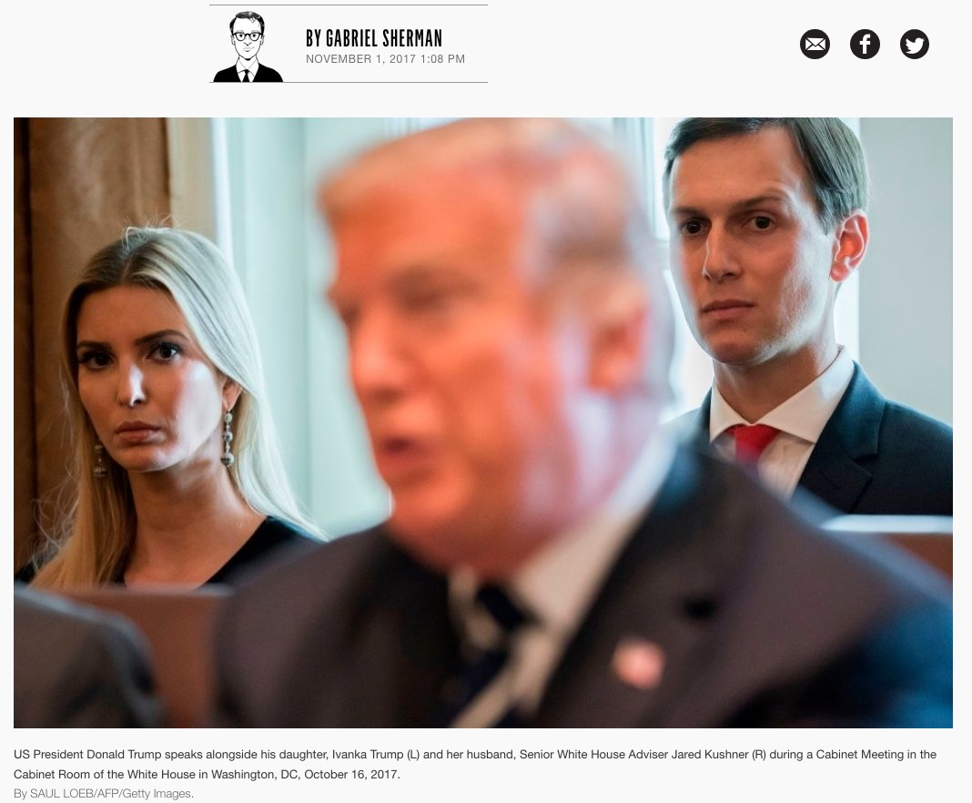 Ivanka Trump (l), Donald Trump (center) Jared Kushner (r), White House, October 16, 2017. Photo by Saul Loeb. (Screenshot from Vanity Fair feature article, November 1, 2017.)