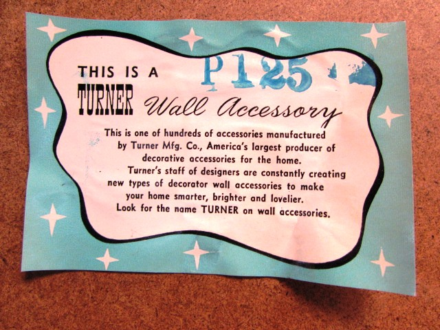 Turner Mfg. Co. wall accessory label
