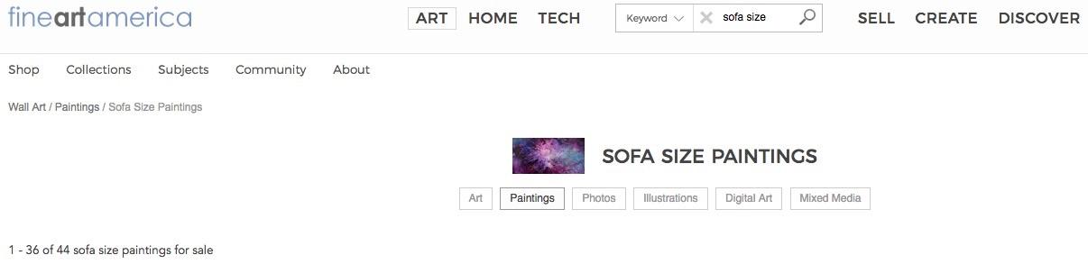 """Sofa size paintings"" at fineartamerica.com (screenshot)"