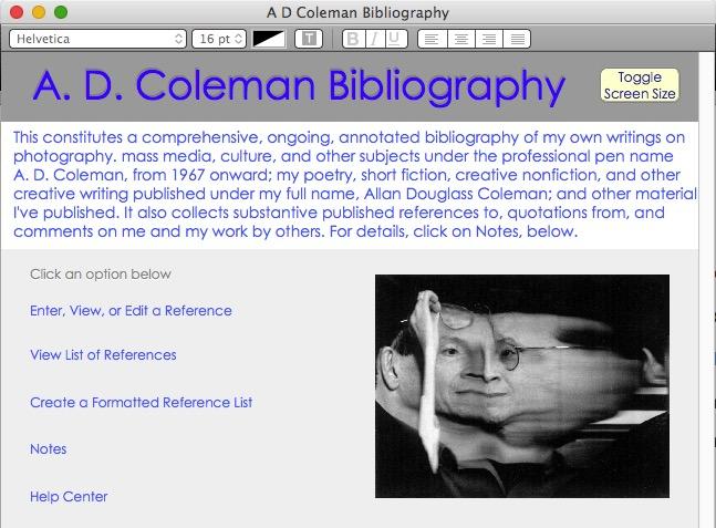 A. D. Coleman bibliography database, screenshot