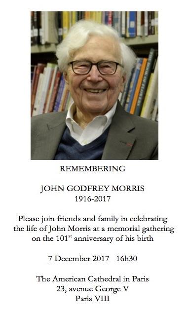 John G. Morris Memorial notice, December 7, 2017