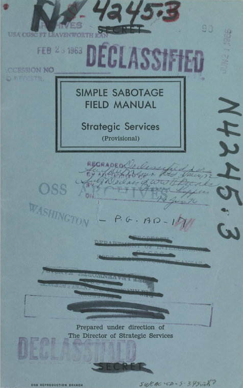 """OSS, """"Simple Sabotage Field Manual"""" (1944), cover"""