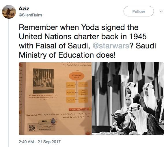 Yoda with King Faisal at signing of UN Charter, 1945, screenshot