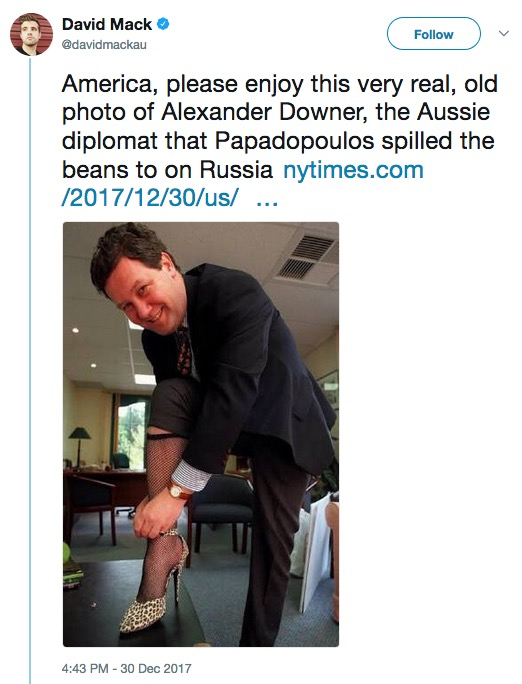 Alexander Downer in fishnet stocking and high heel (1996), Twitter, 12-30-17