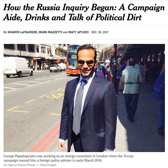 George Papadopoulos in London, New York Times, 12-30-17, screenshot