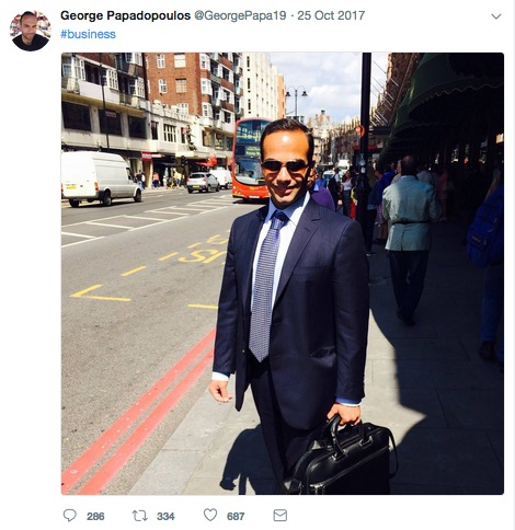George Papadopoulos, London, sometime circa 2013, photographer unknown, posted on Twitter 10-25-17