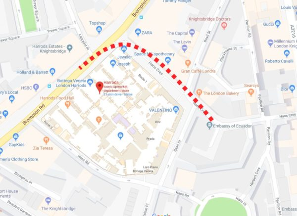 Route from Harrod's to the Ecuadorian Embassy (Google Maps)