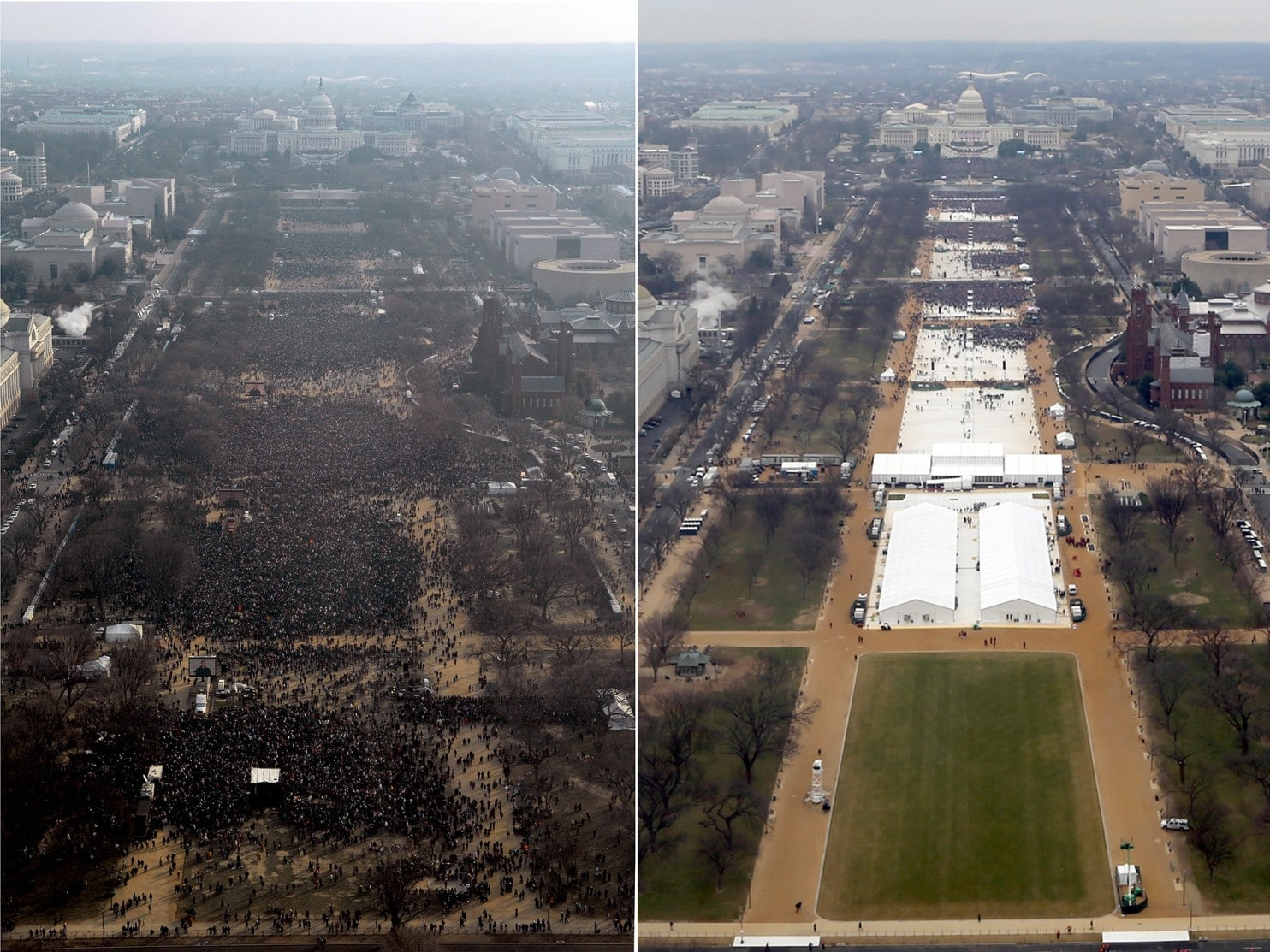 (l) President Obama's first inauguration on the Mall in Washington, 2009. (r) The same view of President Trump's 2017 inauguration. (Images courtesy National Park Service.)