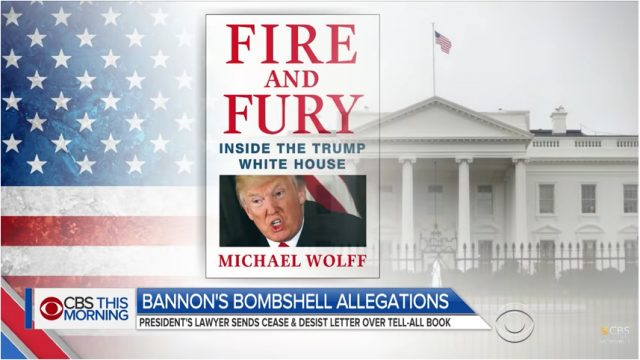 "CBS This Morning, ""Fire and Fury"" report, January 4, 2018, screenshot"