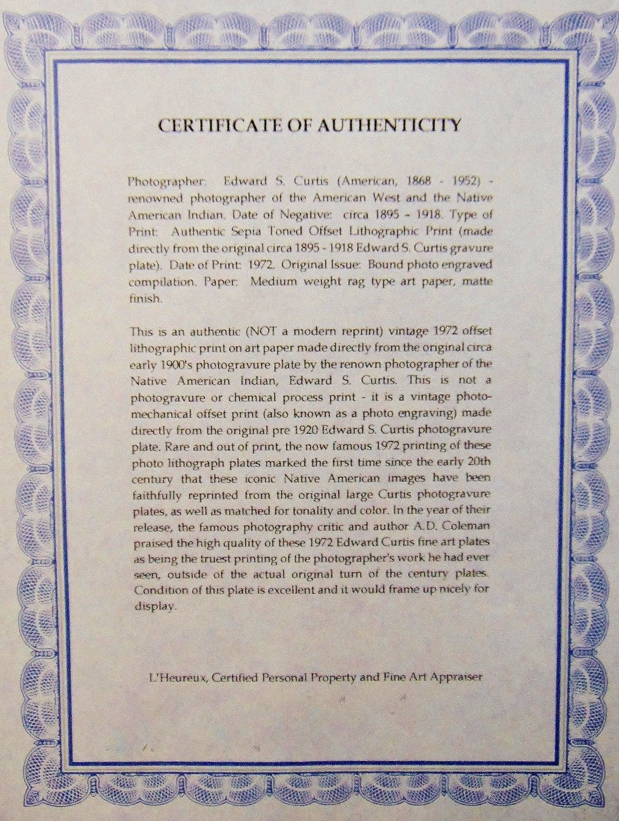 "L'Heureux, Curtis reproduction ""certificate of authenticity,"" 2018"