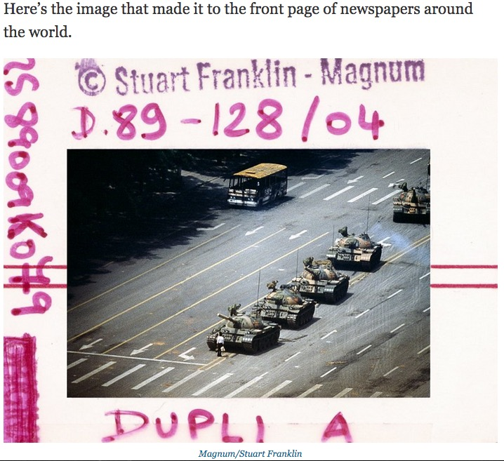 "Stuart Franklin, ""Tank Man,"" Tiananmen, Square, June 5, 1989. (From Business Insider 7-23-14, screenshot)"